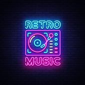 Retro Music Neon Sign Vector. Retro Music Design Template Neon Sign, Retro Style 80-90s, Celebration poster