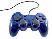 pic of video game controller  - blue video game controller detail for console - JPG