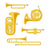 Vector Illustration Set Of Brass Musical Instruments In Cartoon Style Isolated On White Background poster