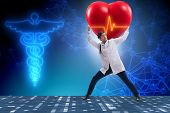 Doctor cardiologist supporting cardiogram heart line poster