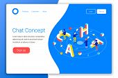 Chat Design Concept. Chat 3d Word Lettering Typography With Isometric People And Laptops. Flat 3d Is poster
