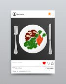 Plate Fork And Knife Instagram, Post With Photo And Tag, Dish With Vegetables, Healthy Food On Insta poster