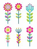 Wild Field Flowers In Colorful Ornamental Design Set. Unusual Florets Of Bright Pieces. Plant With B poster