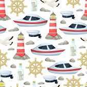 Nautical Navy Boats, Anchor, Wheel Marine And Ocean Seamless Pattern Background For Baby Showers, Bi poster