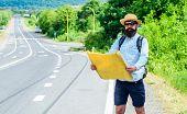 Orient Map Look In Certain Direction See Landmark Find. Expeditor Backpacker Map Look Orienteering D poster