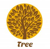 Tree Logo Template. Brown Tree Vector Logo Design Template. Plant, Nature And Ecology. Garden Creati poster
