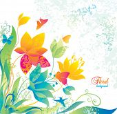 picture of colibri  - Beautiful flower background with butterfly and colibri - JPG