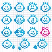 pic of smiley face  - Set of  faces with various emotion expressions - JPG