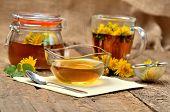Dandelion Jam In Glass, Herbal Tea, Spoon, Dandelion Head Around, Small Colander And Full Jar Of Jam poster