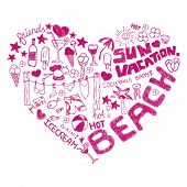 stock photo of girlie  - i love summer on the beach vacation doodles - JPG
