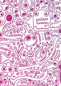 stock photo of freaky  - I love my freaky weird creatures doodles in pink - JPG