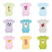 Brand new born baby clothes for boys and girls - in vector