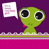 stock photo of baby frog  - New born baby girl card design with frog in vector - JPG