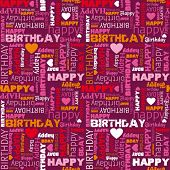 stock photo of happy birthday  - Happy birthday wishes card background pattern in vector - JPG