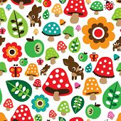 picture of toadstools  - Seamless retro mushroom autumn deer pattern with apple illustration in vector - JPG