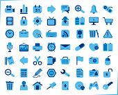 internet, office and multimedia icons - blue series