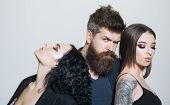 Hairstyle Concept. People With Fashion Hairstyle. Bearded Man And Couple Of Women With New Hairstyle poster