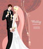 Постер, плакат: Элегантный розовый свадьба с пространством для текста