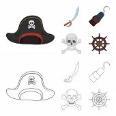 Pirate, Bandit, Cap, Hook .pirates Set Collection Icons In Cartoon, Outline Style Vector Symbol Stoc poster
