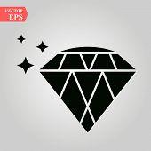 Diamond Icon, Diamond Icon On White Background Eps10 poster