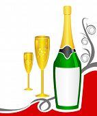 Постер, плакат: шампанское и бокалы