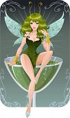 stock photo of absinthe  - Cute absinth fairy - JPG
