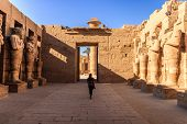 Ancient Ruins And Hieroglyphs At Karnak Temple, Luxor, Egypt. Ancient And Important Statue In The Te poster
