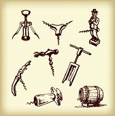 Hand drawn vintage  different cork screws