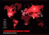 Vector World map with Nuclear Reactors by Country