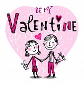 pic of valentine card  - Vector illustration of a valentines couple - JPG