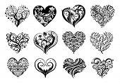 Постер, плакат: Набор из 12 татуировка сердец Векторное изображение