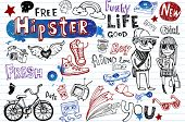 stock photo of tween  - Hipsters doodle set - JPG