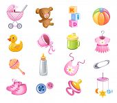 stock photo of baby doll  - Set of toys and accessories for baby girl - JPG