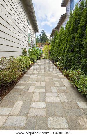 Garden Brick Paver Path Walkway With Arbor