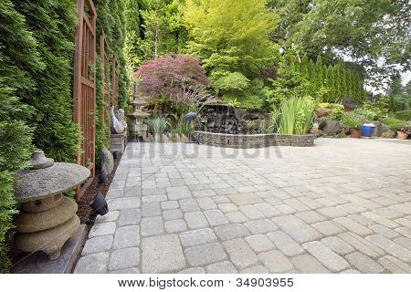 Backyard Asian Inspired Paver Patio Garden