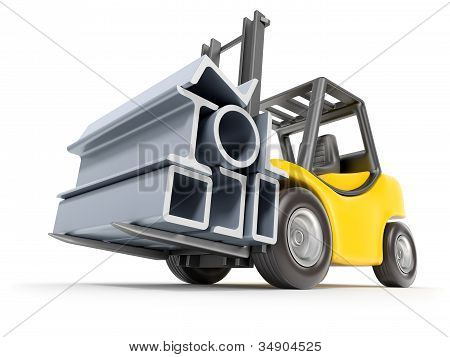 Forklift with metal profile