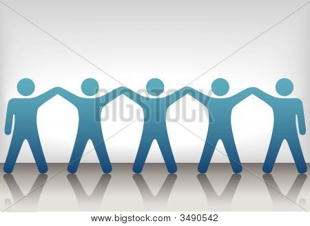 Group Of People Celebrate Teamwork On Background