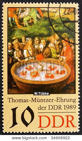 Postage stamp GDR 1989 Fountain, Detail by Werner Tubke