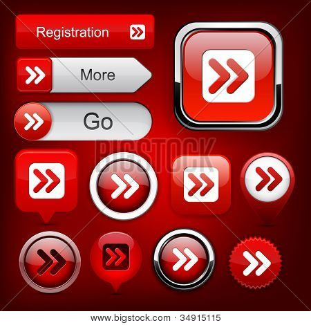 Forward red design elements for website or app. Vector eps10.