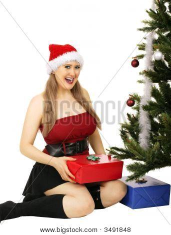 Mrs Santa Receiving Gift