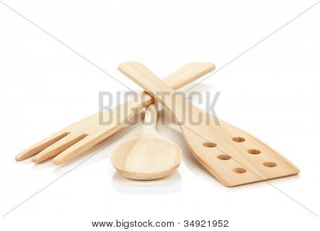Wooden cooking utensils. Isolated over white background