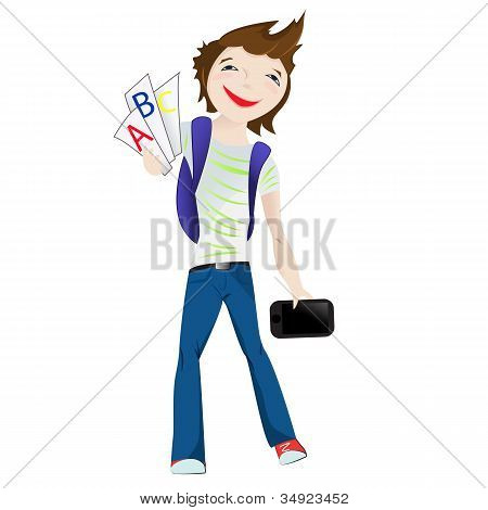 Boy Standing Smiling With Tablet