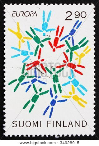 Postage stamp Finland 1995 Stylized Parachutists, Peace and Libe