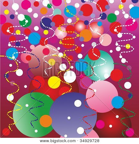 Christmas background with balloons and confetti