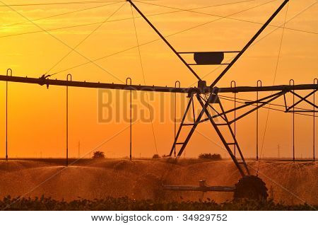 moving system for watering the fields at twilight