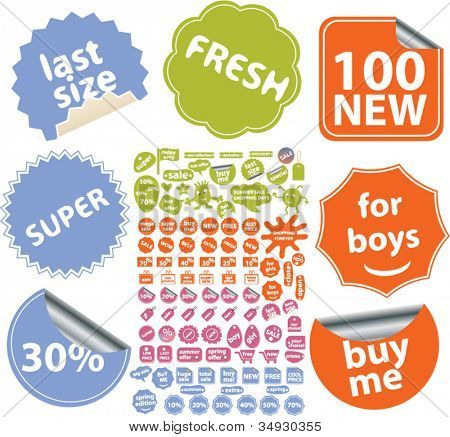 100 shopping & sale stickers, labels, tags, icons set, vector