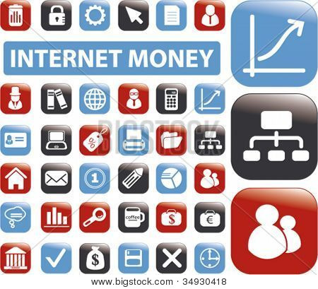 internet money buttons set, vector