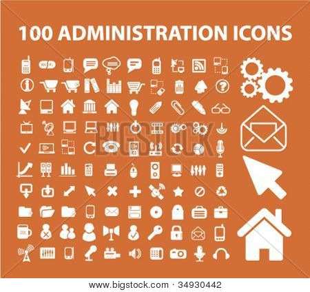 100 administration icons set, vector