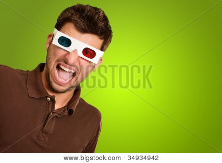Astonished Man Wearing 3d Glasses Isolated On Green Background