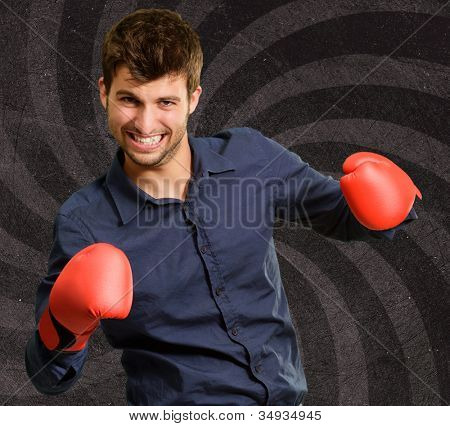 Portrait Of A Man In Red Boxing Glove,  Background